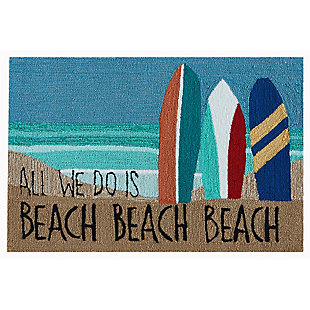 Transocean Deckside Riding the Surf Outdoor 2' x 3' Accent Rug, Blue, large