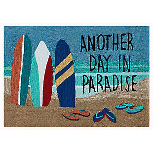 Transocean Deckside Beach Days Outdoor 2' x 3' Accent Rug, Blue, large
