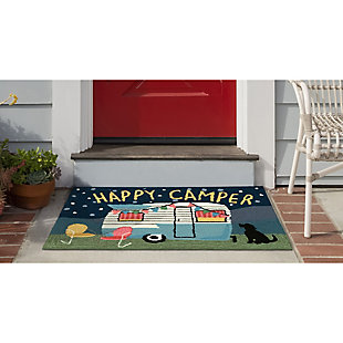 Transocean Deckside Night Glamping Outdoor 2' x 3' Accent Rug, Navy, large