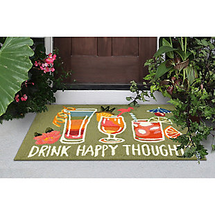 Transocean Deckside Party Time Outdoor 2' x 3' Accent Rug, Green, rollover