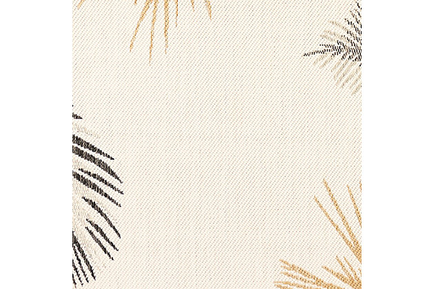 """Transocean Bellagio Tropical Leaf Border Outdoor 3'3"""" x 4'11"""" Accent Rug, Natural, large"""