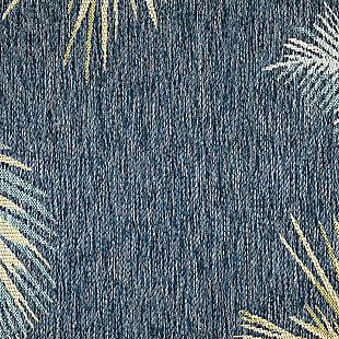 "Transocean Bellagio Tropical Leaf Border Outdoor 7'10"" x 9'10"" Area Rug, Navy, large"