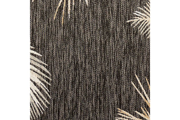 "Transocean Bellagio Tropical Leaf Border Outdoor 4'10"" x 7'6"" Area Rug, Black, large"