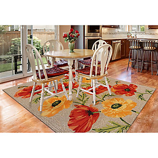 """Transocean Highlands Artic Flower Outdoor 5' x 7'6"""" Area Rug, Natural, rollover"""