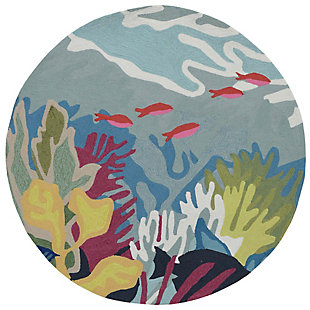 Transocean Highlands Ocean Life Outdoor 5' Round Accent Rug, Blue, rollover