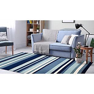 "Transocean Spencer Fun Stripe Outdoor 5' x 7'6"" Area Rug, Blue, rollover"