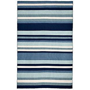 "Transocean Spencer Fun Stripe Outdoor 5' x 7'6"" Area Rug, Blue, large"