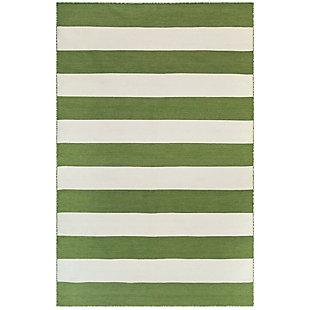 "Transocean Spencer Regatta Stripe Outdoor 5' x 7'6"" Area Rug, Green, large"
