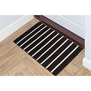 Transocean Spencer Pencil Stripe Outdoor 2' x 3' Accent Rug, Black, rollover