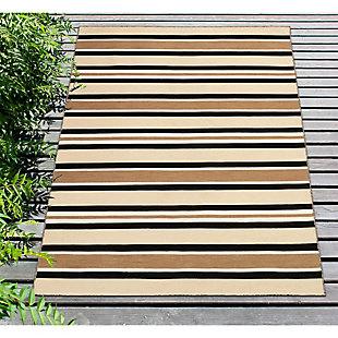 "Transocean Spencer Roman Stripe Outdoor 5' x 7'6"" Area Rug, Khaki, rollover"