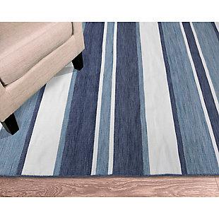 "Transocean Spencer Shadow Stripe Outdoor 5' x 7'6"" Area Rug, Navy, rollover"