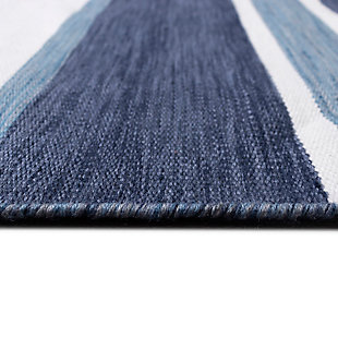 """Transocean Spencer Shadow Stripe Outdoor 5' x 7'6"""" Area Rug, Navy, large"""