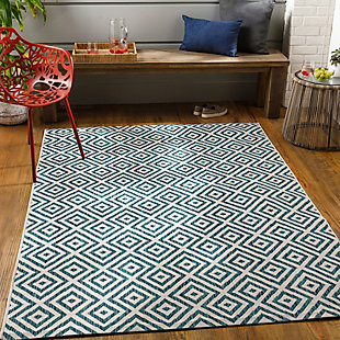 """Surya Eagean 5'3"""" x 7'7"""" Area Rug, Turquoise, rollover"""