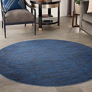 Nourison Essentials 6' Round Area Rug, Midnight Blue, large