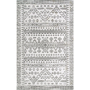 nuLOOM Transitional Moroccan Frances 4' x 6' Accent Rug, Light Gray, rollover