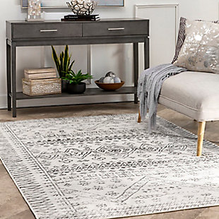 nuLOOM Transitional Moroccan Frances 4' x 6' Accent Rug, Light Gray, large