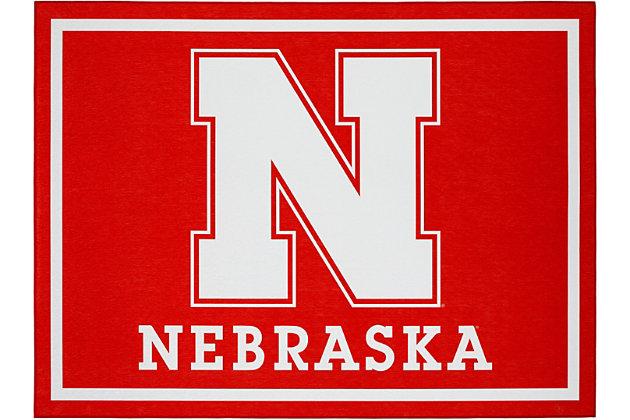 Addison Campus University of Nebraska 5' x 7' Area Rug, Red, large