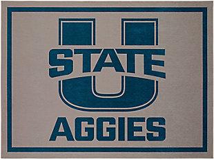 Addison Campus Utah State 5' x 7' Area Rug, Pewter, large