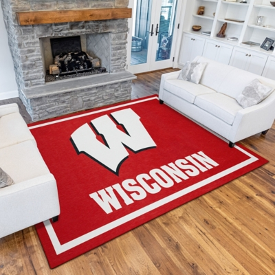 Addison Campus Wisconsin 5' x 7' Area Rug, Red, large