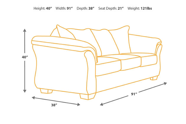 Kinlock sofa ashley furniture homestore for Sectional sleeper sofa dimensions