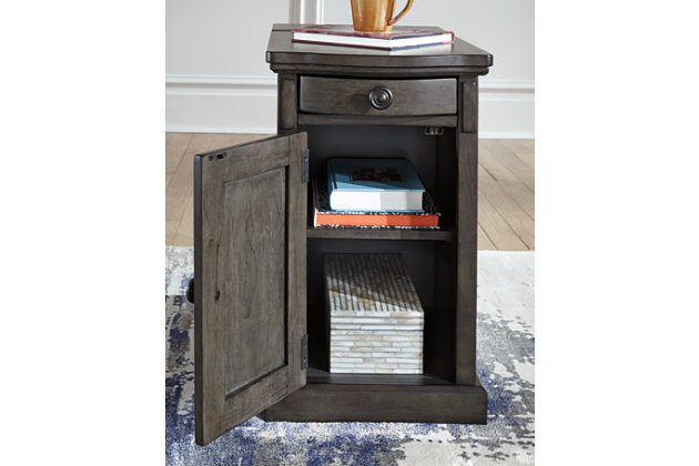 Laflorn Chairside End Table With Usb Ports Amp Outlets