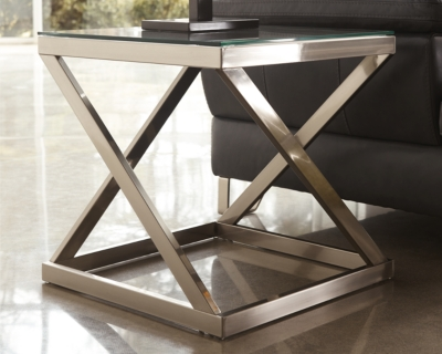 User friendly Table Brushed Nickel Finish End Product Photo