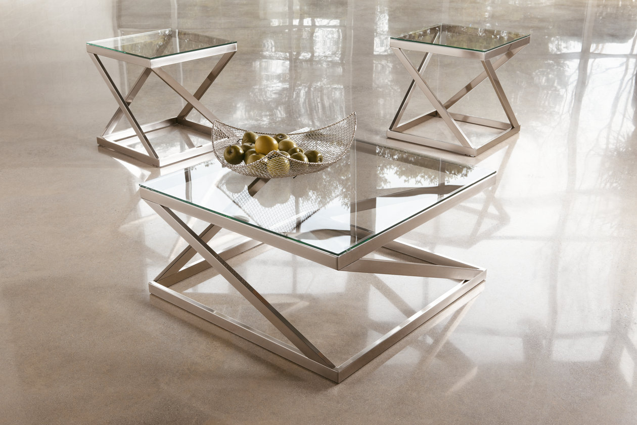 Silver T136-8 Contemporary Glass Coffee Table Ashley Furniture Signature Design Coylin Square Cocktail Table