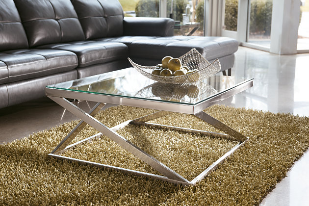Coylin Coffee Table by Ashley HomeStore, Brushed Nickel F...