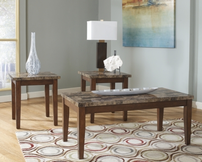 Ashley Theo Table (Set of 3), Warm Brown