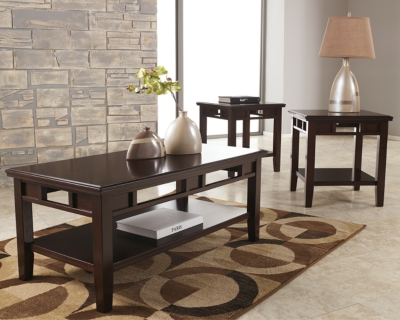 Logan Table (Set of 3) by Ashley HomeStore, Dark Brown