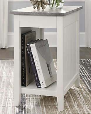 Diamenton Chairside End Table with USB Ports & Outlets, White, rollover