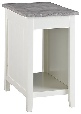 Diamenton Chairside End Table with USB Ports & Outlets, White, large