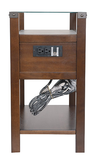 Diamenton Chairside End Table with USB Ports & Outlets, Dark Brown, large