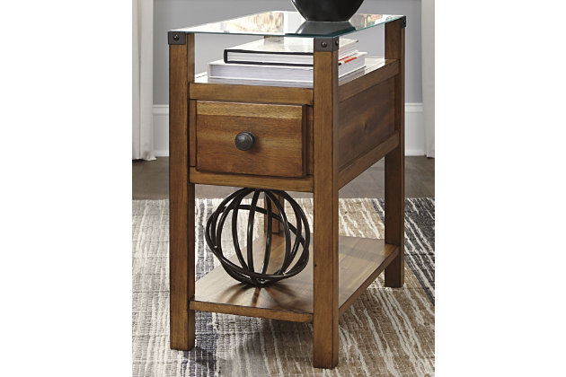 Diamenton Chairside End Table With Usb Ports Outlets Large