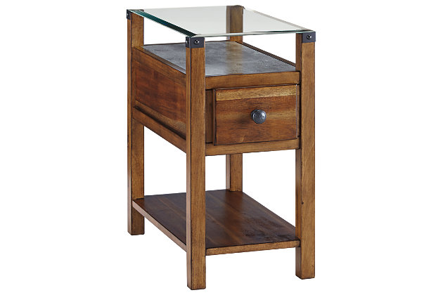 Diamenton Chairside End Table With Usb Ports Amp Outlets