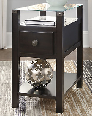 Diamenton Chairside End Table with USB Ports & Outlets, Almost Black, rollover