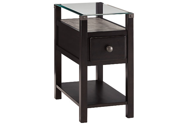diamenton chairside end table with usb ports outlets ashley furniture homestore. Black Bedroom Furniture Sets. Home Design Ideas