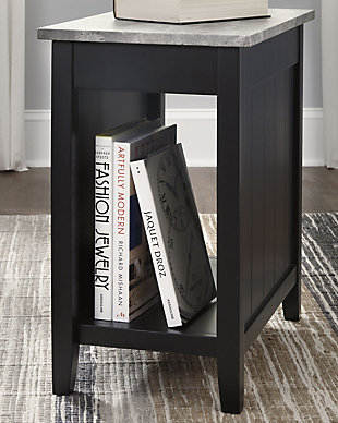 Diamenton Chairside End Table with USB Ports & Outlets, Black, rollover