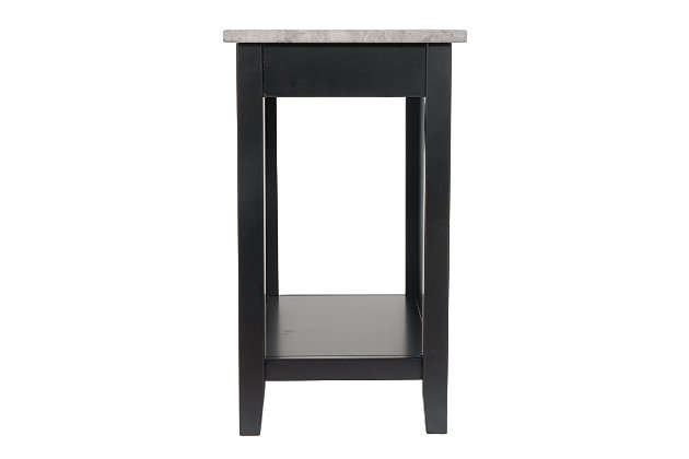 Diamenton Chairside End Table with USB Ports & Outlets, Black, large