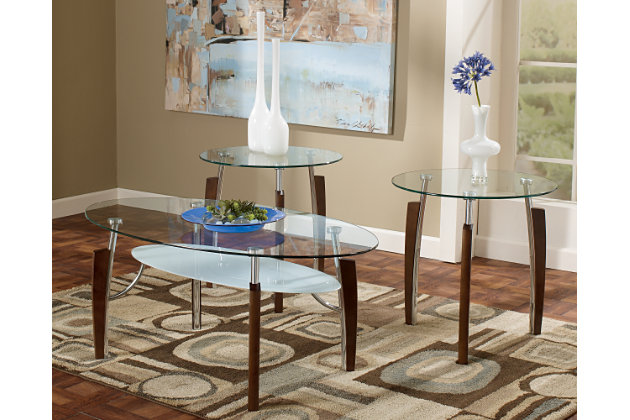 Avani Table (Set of 3) by Ashley HomeStore, Nickel Finish
