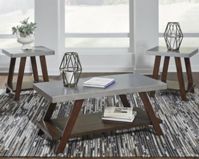 Image of Bellenteen Table (Set of 3), Brown/Silver