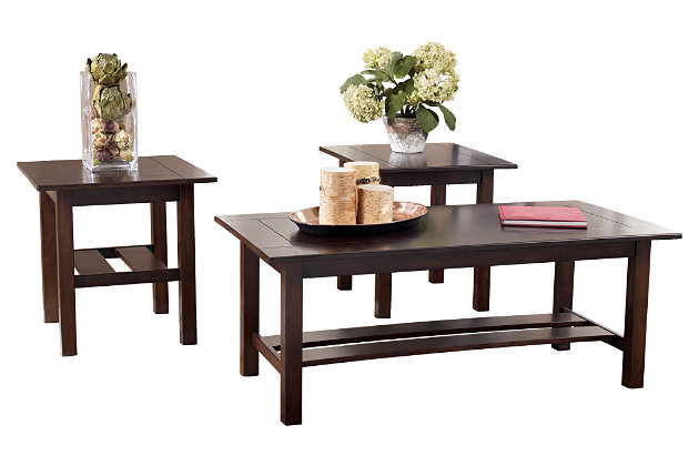 Lewis Table (Set of 3) by Ashley HomeStore, Brown