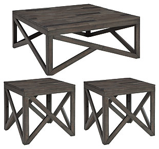Haroflyn Coffee Table with 2 End Tables, , large