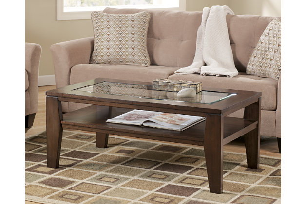 Dark Brown Coffee Table With Glass Top And Storeage Underneath For Your  Living Room Design