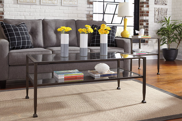 glass and Metal coffee table living room set - Tivion Coffee Table Ashley Furniture HomeStore