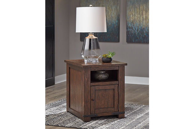 Budmore End Table with USB Ports & Outlets, , large