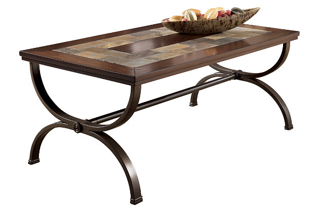 Compleme Your Living Room With A Rectangular Mosaic Slate Top Mixed With  Wood Coffee Table