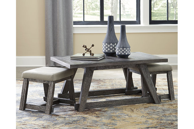 Harpoli Coffee Table with Nuvella Nesting Stools, , large