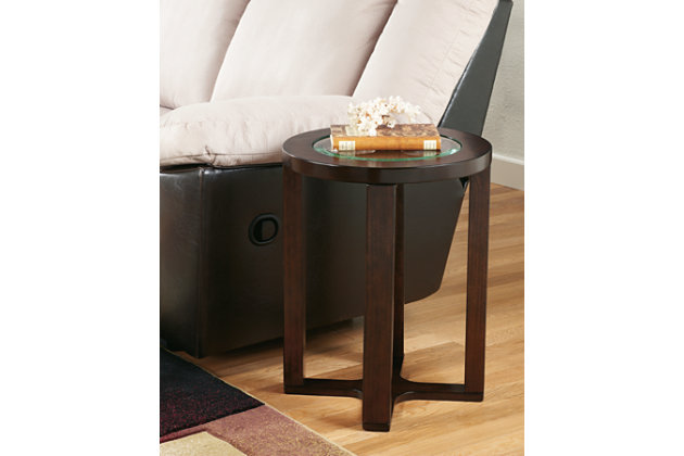 Dark Wood End Table With Glass Surface