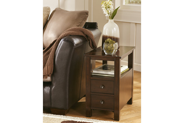 Dark Wood Chair Side End Table With Drawers